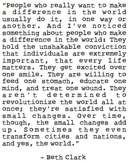 People who make a difference in the world.....