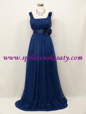 Modré dlouhé společenské šaty empírové i pro těhotné plnoštíhlé 44 46 48  XXl č. 2073