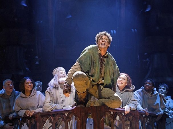 Michael Arden as Quasimodo and the company of The Hunchback of Notre Dame. Photo by Matthew Murphy  > out there, i assume