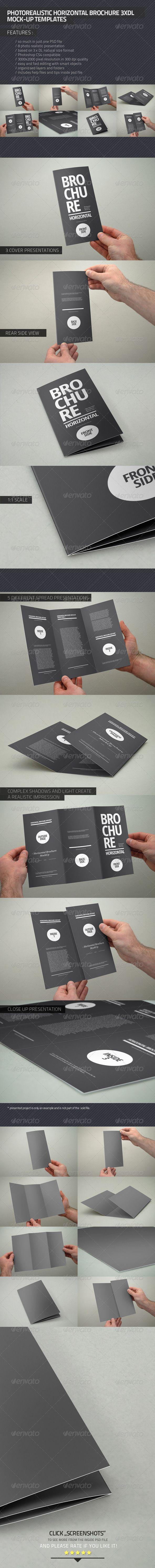 Photorealistic Brochure 3xDL - Brochures Print - Auto Mockup