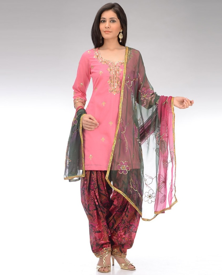 Pink and Burgundy Wine Printed Patiala Suit with Sequined Motifs