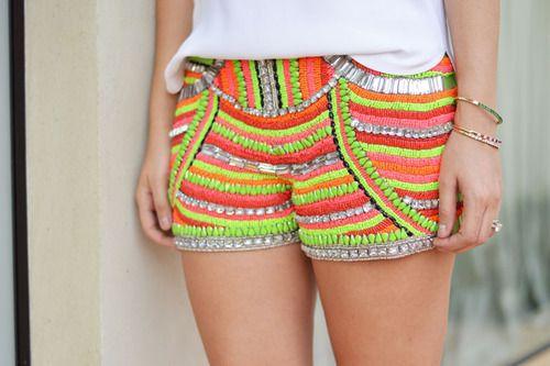 beaded neon shorts
