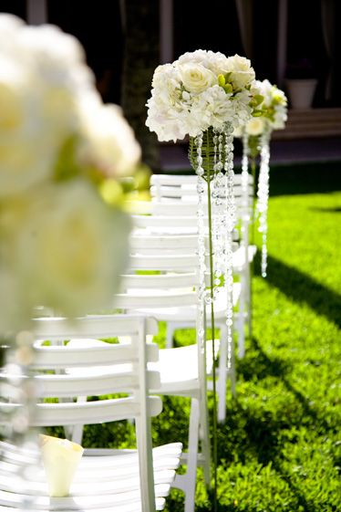 LOVE THIS! - love the crystals Wedding ceremony flowers ...
