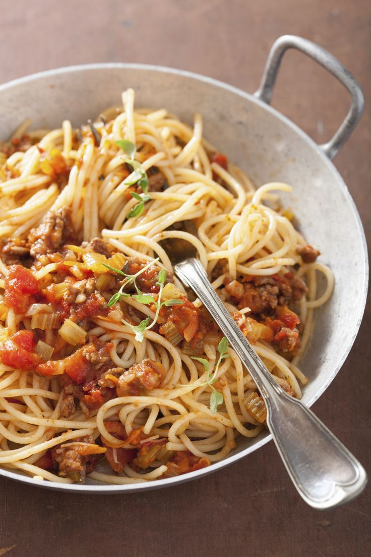 Supersimpele eenpand pasta spaghetti bolognese