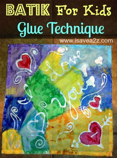 Batik for Kids art project - using the blue gel glue.  This one uses acrylic paint - what if I wanted a wearable (and so, washable) piece?