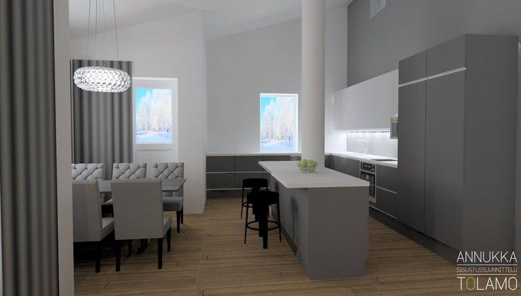 Sisustussuunnittelu Annukka Tolamo / 3D-mallinnus keittiö ja ruokatila