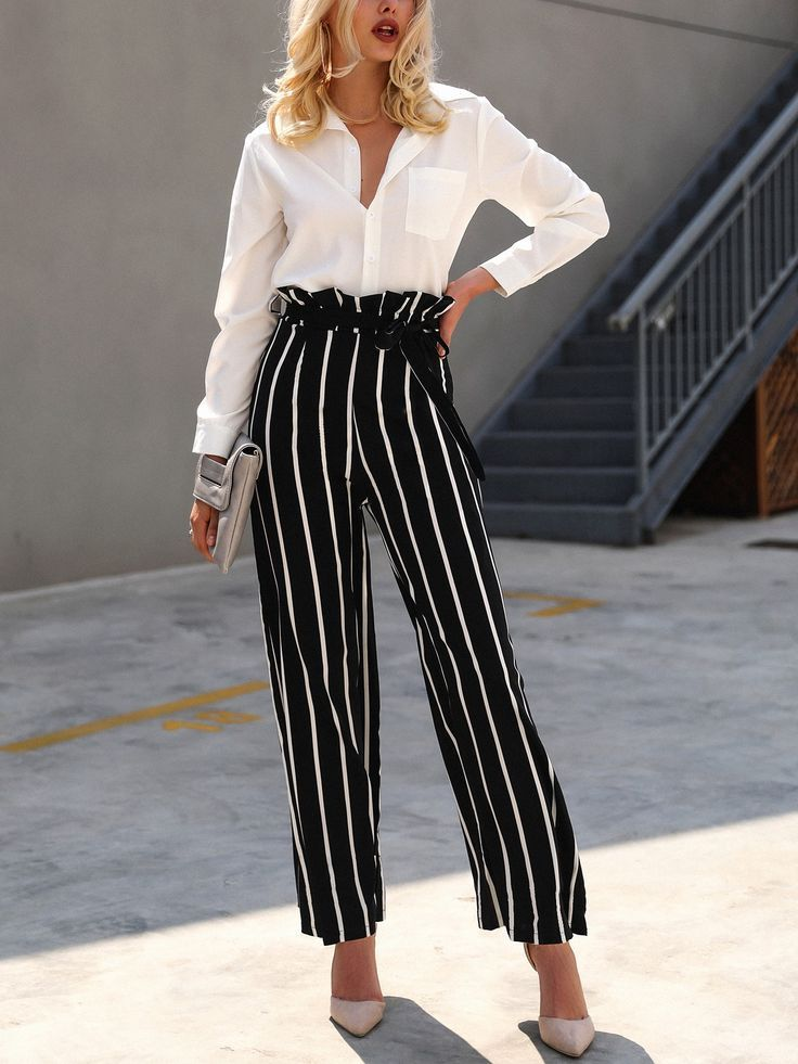 20e5b72b98 Frills Striped Belted High Waist Wide Leg Pants | Winter Outfits ...