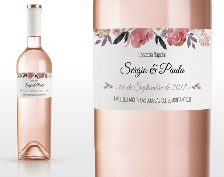 Etiqueta de vino Imprimible. Plantilla PDF. Sweet Emotion. Plantilla PDF. Invitaciones imprimibles para bodas. Tarjetas de boda para imprimir desde casa.