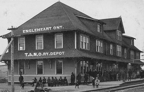 ENGLEHART, Ontario - Temiskaming & Northern Ontario Railway depot - vintage