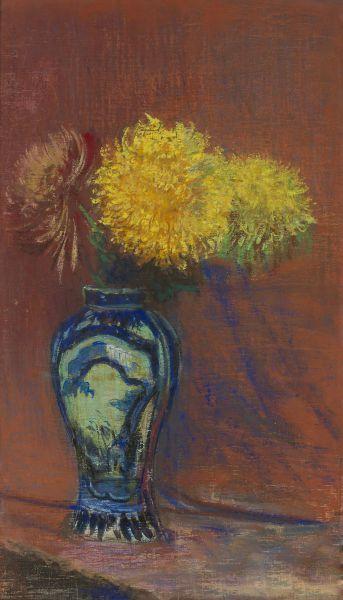 Żółte chryzantemy w chińskim wazonie - Leon Wyczółkowski
