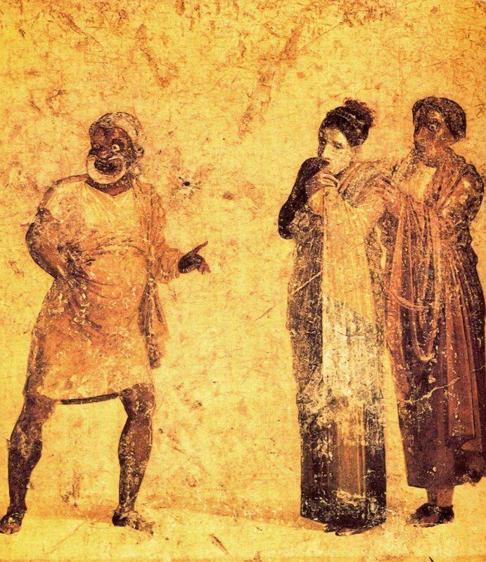 PINTURA ROMANA. Anónimo. La cortesana, escena de una comedia de Plauto. Procedente de Herculano. Museo Arqueológico Nacional. Nápoles. Italia.