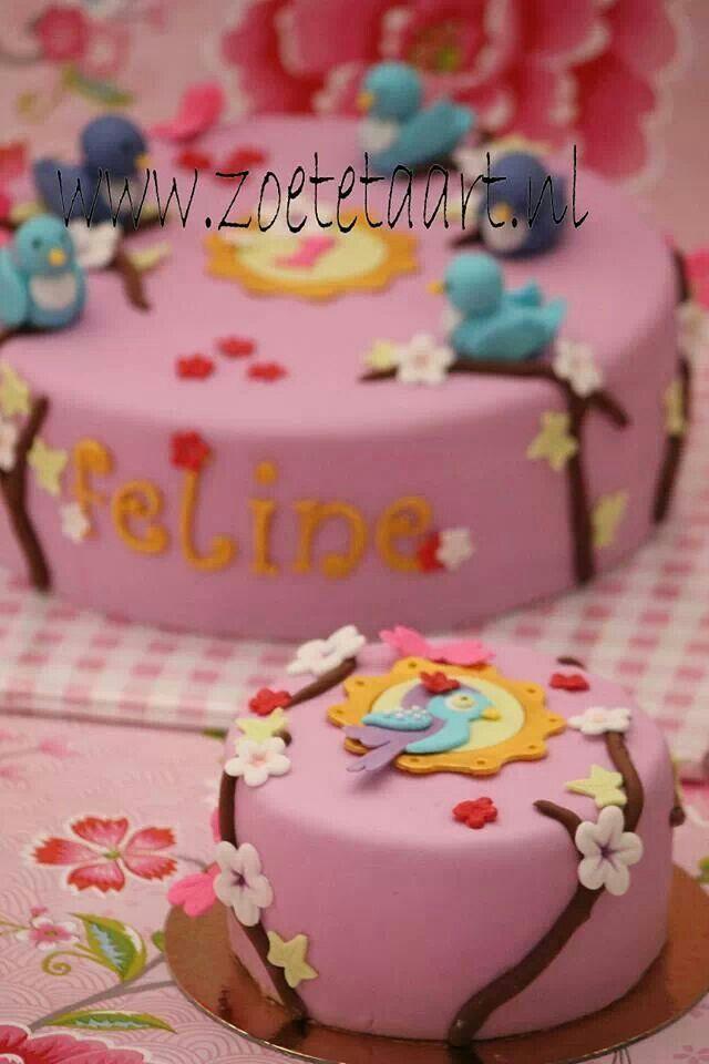 Birds cake bloemen pip taart
