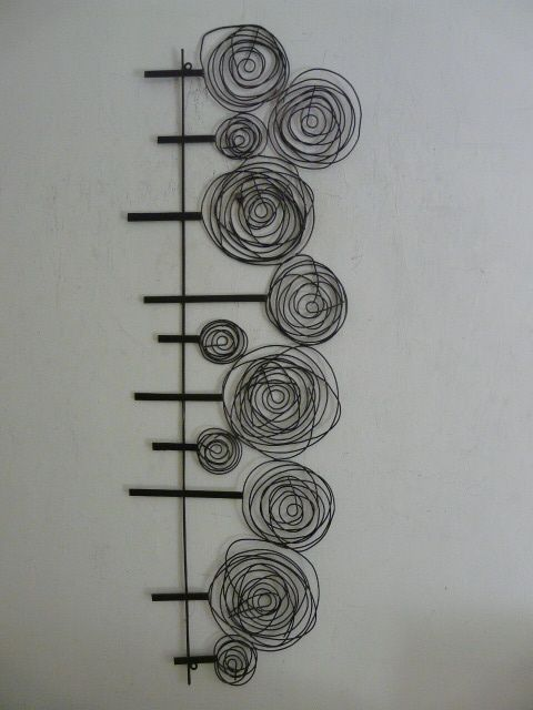 "wire sculpture | Contemporary Metal Wall Art ""Wire Spiral Tree Scene"""