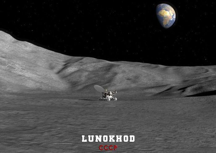 Lunokhod - first russian robot on the moon, illustration by Luca Oleastri - www.innovari.it