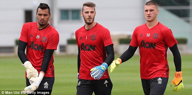 David de Gea is United's first choice ahead of Sergio Romero (left) and Sam Johnstone