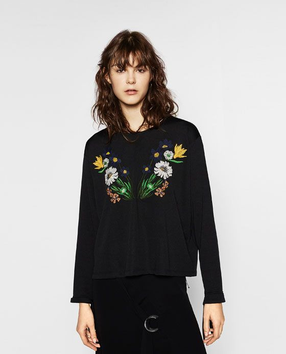 ZARA - WOMAN - FLORAL EMBROIDERED TOP