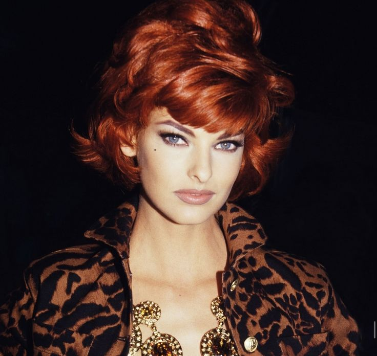 Linda Evangelista red hair &amp leopard th cts  - 1980S Hairstyles