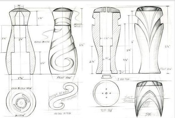 Dibujo industrial a mano con vista y acotado