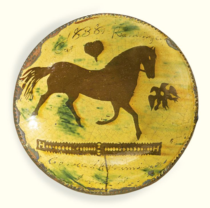 LOT SOLD. $34,375 USD Glazed red earthenware running horse silhouette resist plate, Conrad Kolb Ranninger (1809-1869) Montogmery County, Pennsylvania, dated 1838 Surface incised: 1838/ Con. Ranninger / Conrad K. Ranni[nger]; underside, incised: June the 23 1838/ Conrad K. Ranninger / Montgomery County 1 3/4 by 7 5/8 in. diam. Visual Grace: Important American Folk Art from the Collection of Ralph O. Esmerian