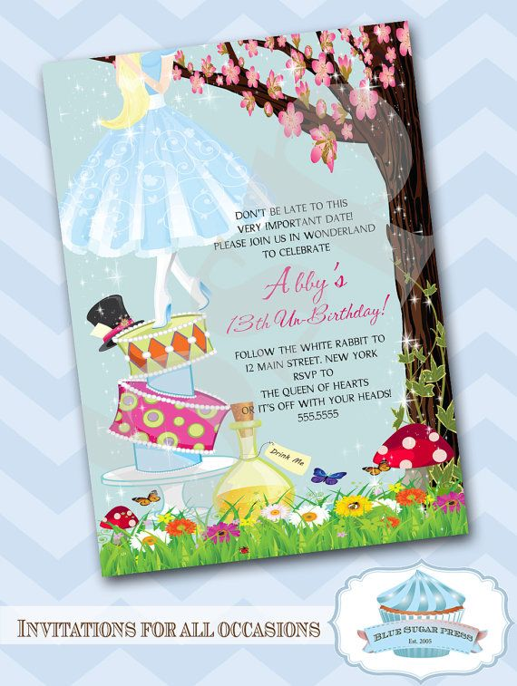 Personalized Birthday Party Alice In Wonderland Invitations On Etsy