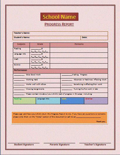 first grade progress report template - progress report template progress report template