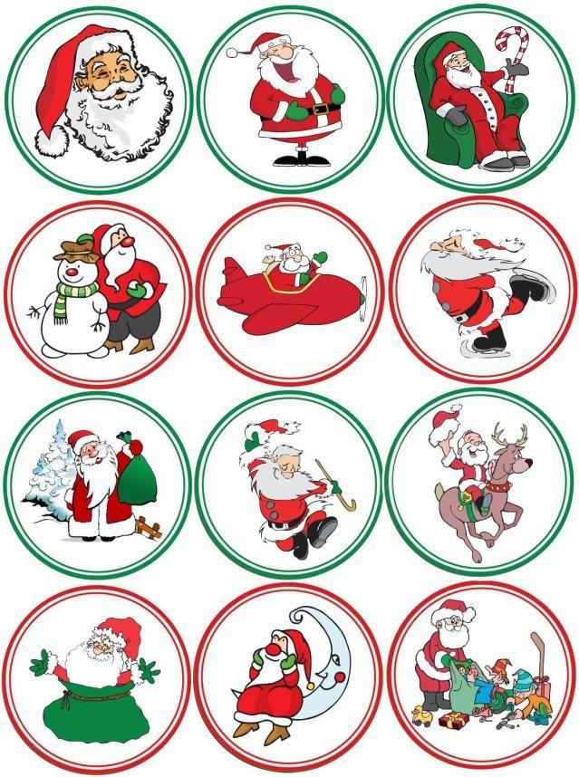 Make Your Own Christmas Cupcake Toppers: Printable Sheet Of Christmas Images