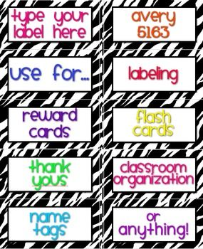 """Dress up your classroom with """"Zebra Labels You Can Customize & Edit"""" in loads of fun colors! Provided in Microsoft Word format. Other sizes available. $"""