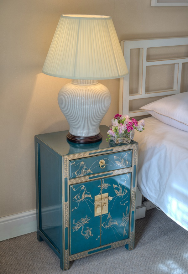 Teal Bedside Cabinet With Gold Erflies