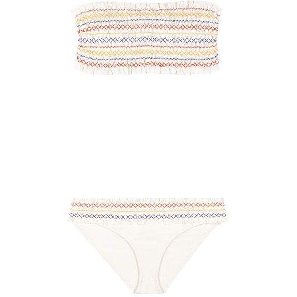 Tory Burch Costa Smocked Bandeau Bikini (925 BRL) ❤ liked on Polyvore featuring swimwear, bikinis, swimwears, white, multicolor bikini, tory burch, white bikini, bikini swimwear and multi color bikini