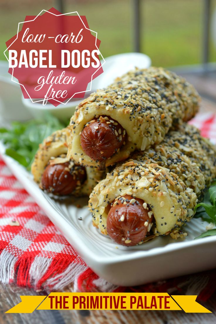 Low Carb, Keto & Gluten-free Bagel Dogs! Great for kids and adults! ThePrimitivePalate.com
