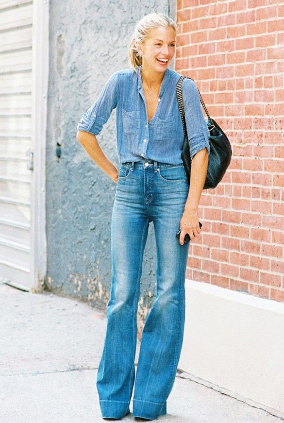 Embrace the Canadian tuxedo // chambray top + high-waisted flare jeans