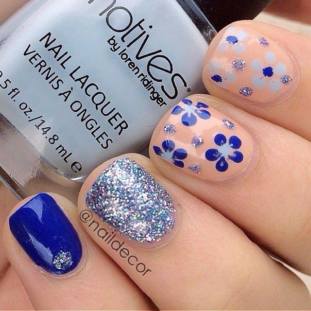 Blu argento glitter rosa cipria fiori