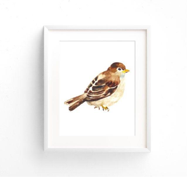 Watercolor Bird Wall Decor, Wood Thrush, Whimsical Bird, Bird Bathroom Art, Bird…