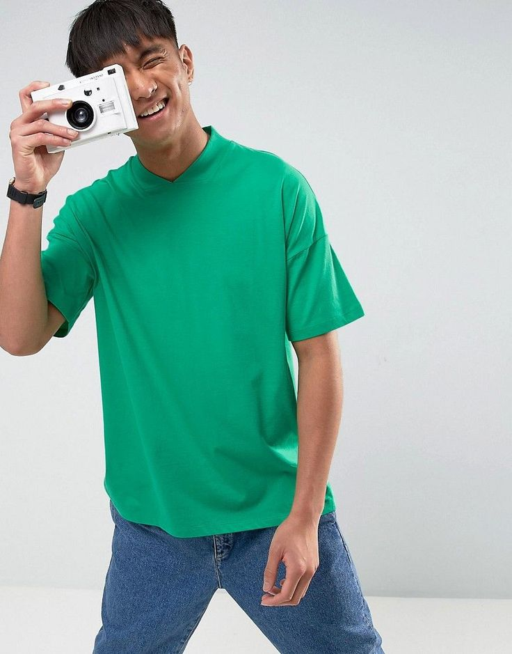 ASOS Oversized T-Shirt With V-Neck In Green - Green
