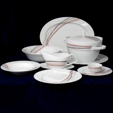Jídelní souprava pro 6 osob + sklenice ZDARMA, Thun 1794 karlovarský porcelán, SYLVIE 80382