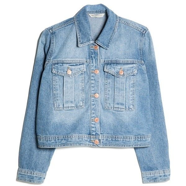 MANGO Cropped Denim Jacket (£30) ❤ liked on Polyvore featuring outerwear, jackets, coats & jackets, tops, cropped jean jacket, cropped denim jacket, jean jacket, cropped jacket and mango jackets
