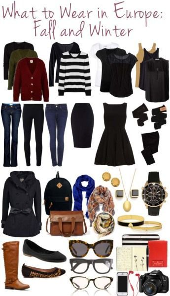 Fall and Winter Packing List for Europe. I'll need more dress clothes, I think. But this is a good list