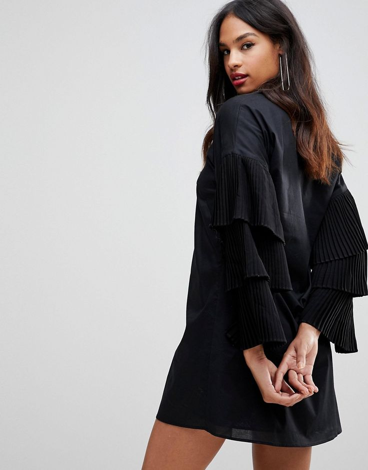 Isla Loaded Maxi Shirt Dress - Black