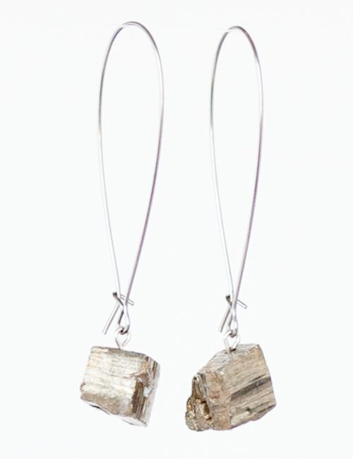 NEW hand-crafted Pyrite nugget earrings; from T [and] T