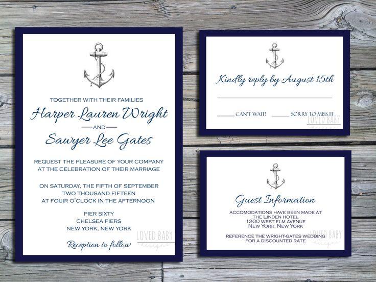 Nautical Wedding Invitation Package DIY By LovedBabyDesigns