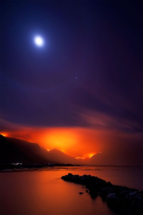 fire and iceSunsets, Bays, Capes Town, South Africa, Night Meeting, Full Moon, Inspiration Quotes, Meeting Night, The Moon