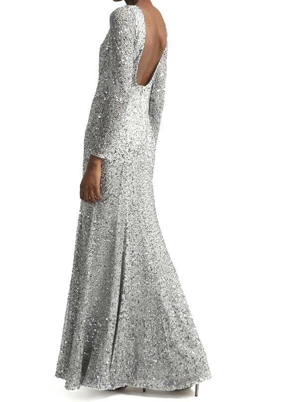 024280fbbf6d06 French Connection Helen Silver Embellished Fishtail Gown Party Dress 12 40  New #FrenchConnection #MaxiDress #SpecialOccasion