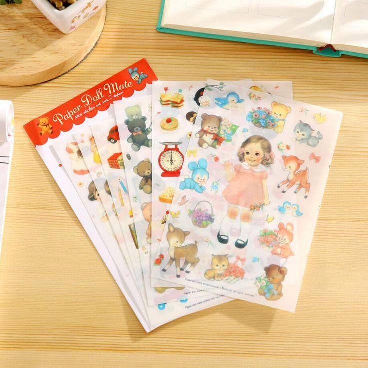 Cute 6 Sheets Heeda Girls/Boys/Deer/Cat/Cake PVC Sticker Korean Style Cute Kawaii Planner Stickers for Notebook Diary Deoration