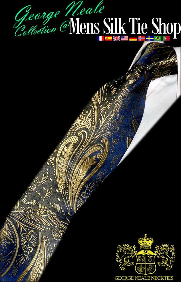 Azules corbatas florales . Enviamos corbatas de seda para hombres en Madrid, Sevilla, Málaga y Palma casi cada semana .
