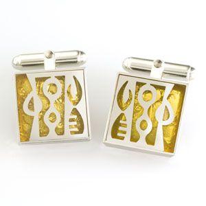 Sterling silver & 23karat gold leaf large square Victoria Varga cuff links. $185.00 www.victoriavarga.com