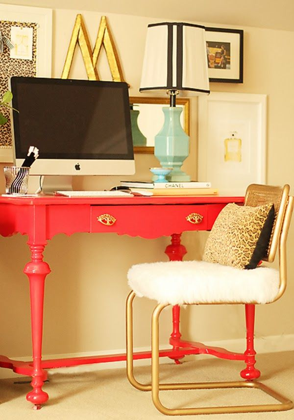 Fun home office - love the colors and the gold vintage chair eclecticallyvintage.com