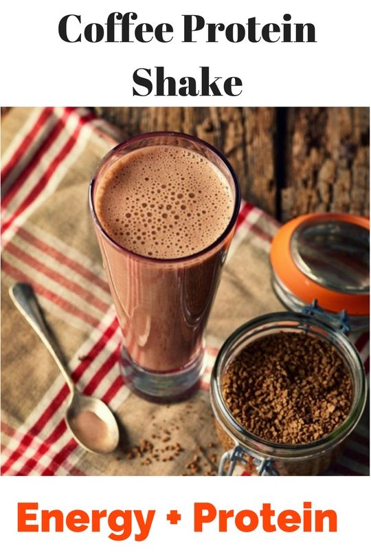 What could be better than a refreshing coffee protein shake? 1 cup of cold coffee, chilled in your fridge overnight 1 ripe banana 1 tbsp of crunchy peanut butter 1 scoop of protein powder (either unflavored or vanilla) ½ cup of almond milk (or regular milk if you prefer) A handful of ice