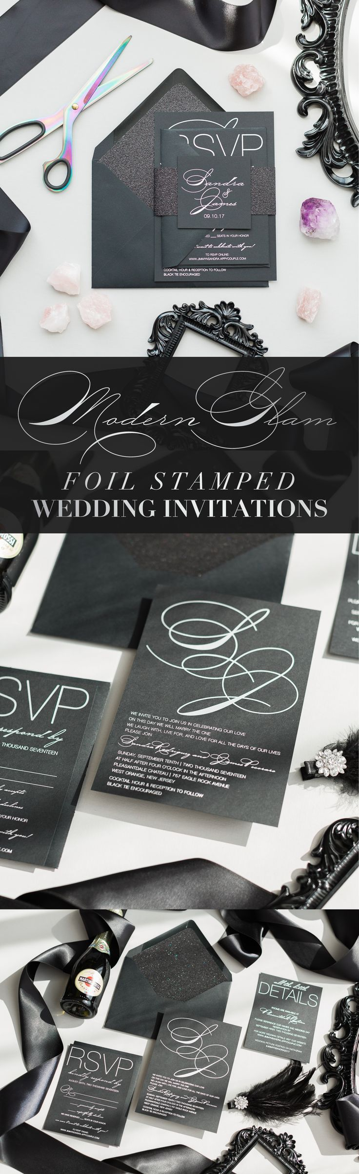 Gorgeous Black and Silver Foil Stamped Modern