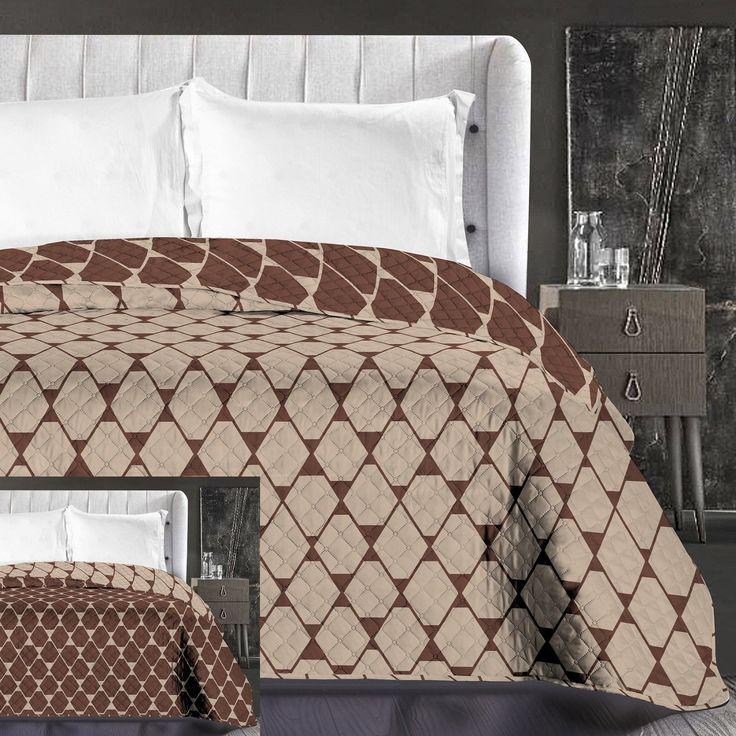 Hnědý přehoz na manželskou postel oboustranný
