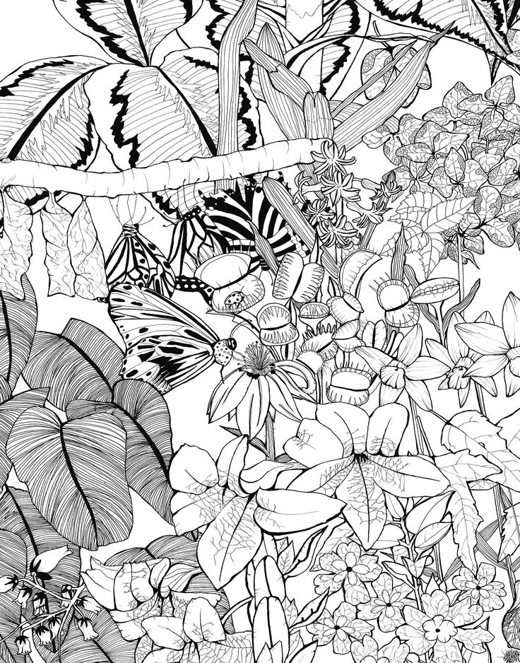 Illustrated black leafy monochrome textile print design rosie williams